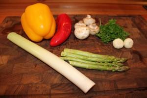 Grönsakerna som används till kycklingen
