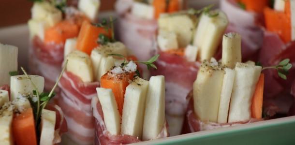 Rotfrukter med timjan och bacon (Salt, peppar och lite olja)